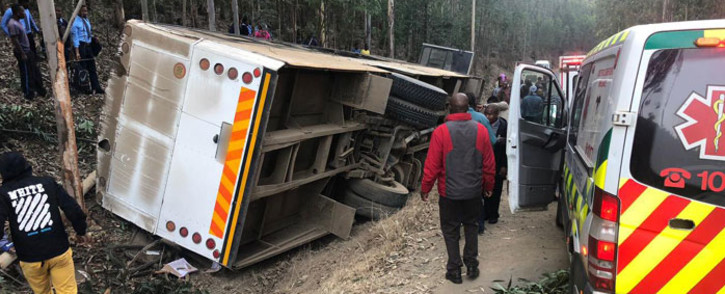 The scene of the bus accident in KwaZulu-Natal. Picture: @ER24EMS/Twitter