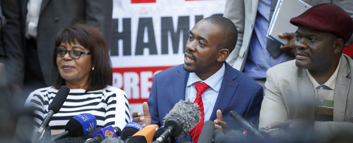 FILE: MDC Alliance leader Nelson Chamisa addresses the press on the elections thus far, stating they have been rigged. Thomas Holder/EWN