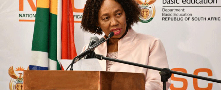 Minister of Basic Education Angie Motshekga announcing the results of the 2020 matric examinations on 22 February 2021 in Pretoria. Picture: GCIS