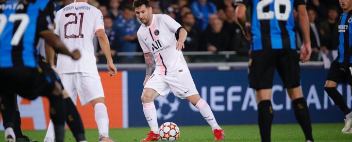 Lionel Messi made his first Paris Saint-Germain start in a 1-1 draw at Club Brugge in the Champions League on 15 September 2021. Picture: @PSG_English/Twitter.