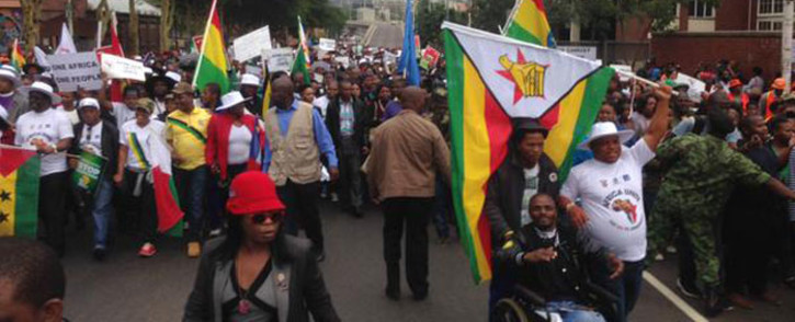 Thousands joined the peace march in Durban on 16 April 2015, while police kept a close watch at the hotspots. Picture: Govan Whittles/EWN.