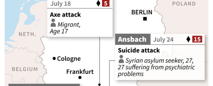 Graphic map showing the attacks in Germany.