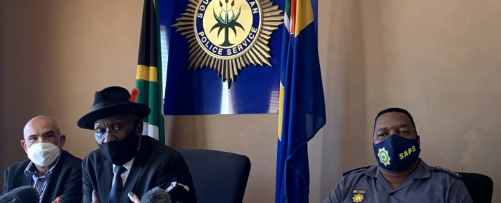 Police Minister Bheki Cele (M) gave an update of extortion cases in Cape Town on 8 April 2021. Picture: Kaylynn Palm/Eyewitness News