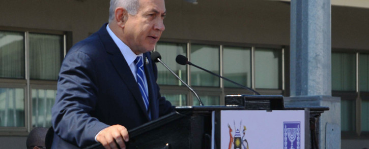 FILE: Israeli Prime Minister Benjamin Netanyahu speaks during an event to mark the 40th anniversary of the 1976 hostage rescue in Entebbe on 4 July, 2016. Picture: AFP.