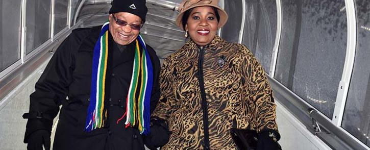 FILE: President Jacob Zuma, accompanied by first Lady Bongi Ngema-Zuma arrive in Davos, Switzerland, for the World Economic Forum. Picture: GCIS