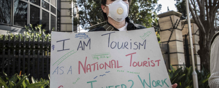 Members of of the tourism, food and alcohol, and hospitality industries protested in Sandton as part of the #ServeUsPlease movement. Picture: Abigail Javier/EWN
