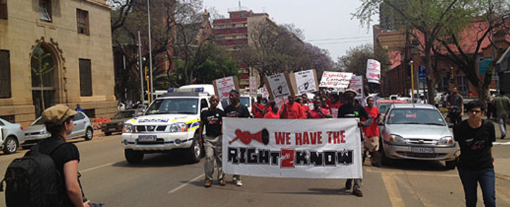 Right to Know activists are staging a demonstration outside the UJ campus calling for jobs and equal basic services on 7 November 2019. Picture: EWN