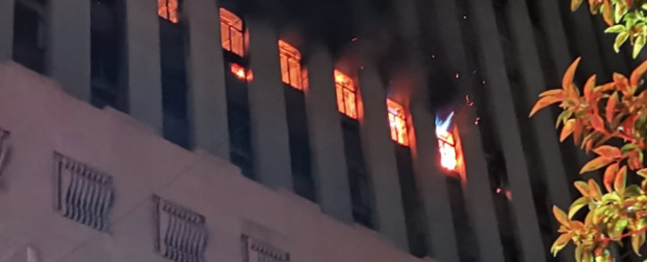 One person sustained serious injuries after jumping out the 10th-floor window during a building fire in central Johannesburg. Picture: Netcare911.