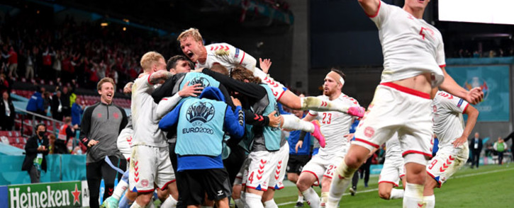 Denamrk players celebrate their win over Russia in the Euro 2020 match on 21 June 2021. Picture: @EURO2020/Twitter
