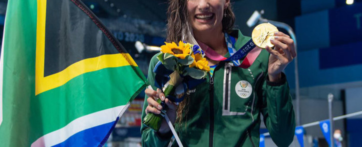 South Africa's Tatjana Schoenmaker picked up Team SA's first gold medal of the 2020 Tokyo Olympics Games when she won the 200m breaststroke in a world record time on 30 July 2021. Picture: Anton Geyser/SASPA/SASI