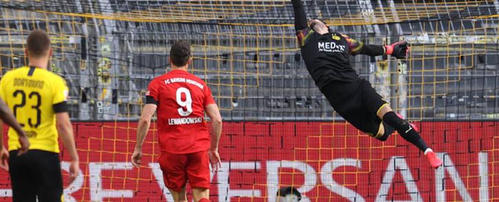 Bayern Munich's Joshua Kimmich (not in picture) scored against Borussia Dortmund in a Bundeliga match on 26 May 2020. Picture: @Bundesliga_EN/Twitter