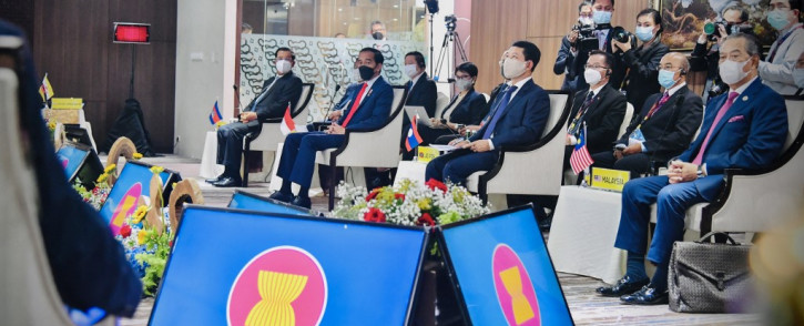 This handout photo taken on 24 April 2021 and released by the Indonesian Presidential Palace shows leaders attending the Association of Southeast Asian Nations (ASEAN) summit on the Myanmar crisis in Jakarta. Picture: AFP