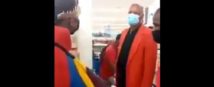 An argument ensued at a Clicks store in Midrand after a customer dressed in Ndebele clothing was told to leave. Picture: Twitter/screenshot.
