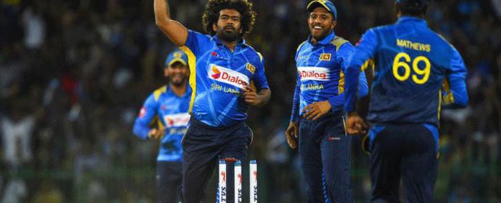 Sri Lanka's Lasith Malinga and teammates celebrate during an ODI match against Bangladesh on 26 July 2019. Picture: @ICC/Twitter.