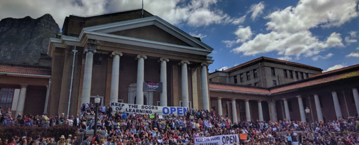 FILE: Students at the University of Cape Town hold a silent demonstration in support of the resumption of lecture and academic activity. Picture: Supplied.