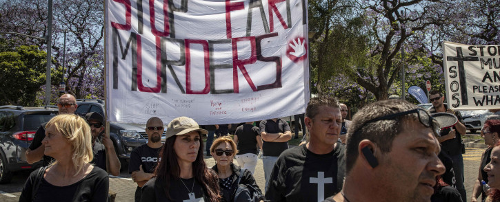 Protesters from Black Monday march to the American Embassy in Pretoria, demanding assistance from American President Donald Trump in stopping farm murders and land grabs in South Africa. Picture: Thomas Holder/EWN