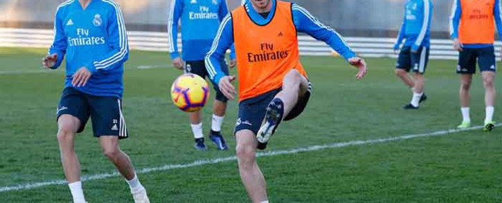 A file picture of Real Madrid's Gareth Bale during training. Picture: @realmadriden/Twitter.