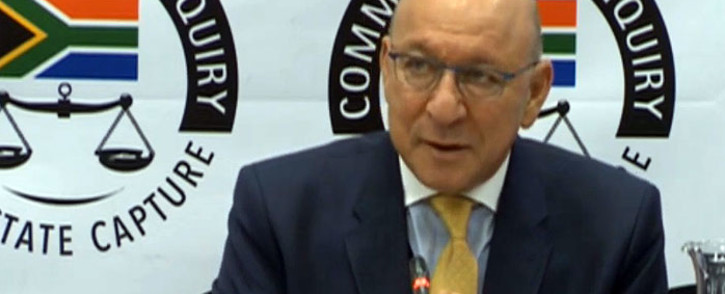 A screengrab shows Trevor Manuel, who appeared before the state capture commission of inquiry on 1 March 2019.