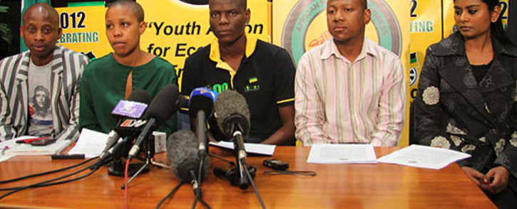 ANCYL leaders addressing a media conference. Picture: Taurai Maduna/EWN