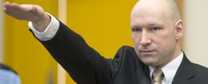 FILE: Norwegian mass killer Anders Behring Breivik makes a Nazi salute on 15 March, 2016. Picture: AFP