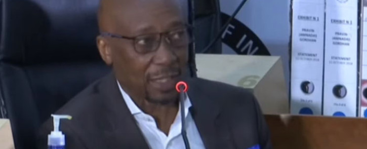 A screengrab of former South African Revenue Service commission, Tom Moyane, appearing at the state capture inquiry on 26 May 2021. Picture: SABC/YouTube