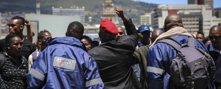 Cape Town's civic centre was locked down on Wednesday morning after a group of MyCiTi protesters staged a protest. Picture: Cindy Archillies/EWN