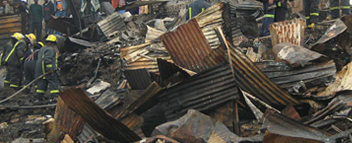 Shacks devastated by fire. Picture: Eyewitness News.