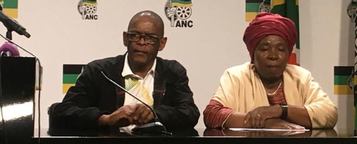 ANC secretary-general Ace Magashule and NEC member Nkosazana Dlamini Zuma at a press briefing on 2 October 2019. Picture: Theto Mahlakoana/EWN