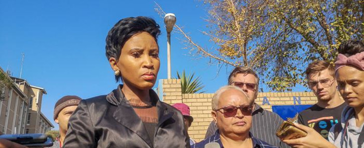 Johannesburg Health MMC Mpho Phalatse outside Sophiatown police station on 12 June. Picture: Kayleen Morgan/EWN