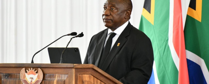 President Cyril Ramaphosa delivers the eulogy at the late Jackson Mthembu's funeral. Picture: @GovernmentZA on Twitter