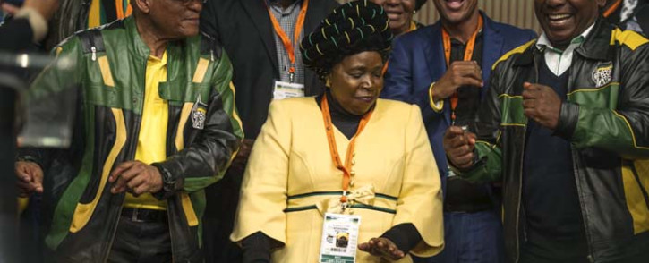 FILE: President Jacob Zuma, Nkosazana Dlamini Zuma and Cyril Ramaphosa dance after the closing session of the ANC's policy conference on 5 July 2017. Picture: AFP.