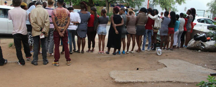 Police arrested 19 men in Klerksdorp after they discovered a brothel where 26 women were rescued. The youngest among those found on the premises is a 14-year-old girl, while the rest of the group are aged between 16 and 37. Picture: SAPS