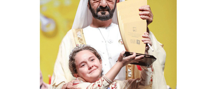 Maryam Amjoun won the main prize in the third annual Arab Reading Challenge. Picture: @DXBMediaOffice/Twitter