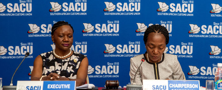 Sacu executive secretary Paulina Elago (left) at the 54th Meeting of the SACU Commission in Windhoek, Namibia on 3 December 2019. Picture: @SACUSEC/Twitter