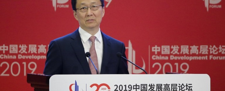 FILE: Chinese Vice Premier Han Zheng speaks during the China Development Forum in Beijing on 24 March 2019. Picture: AFP