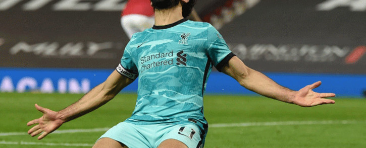 Mohamed Salah eased Liverpool's nerves in the 90th minute against Manchester United as he sprinted clear to slot home his 30th goal of the season on 13 May 2021. Picture: @LFC/Twitter.