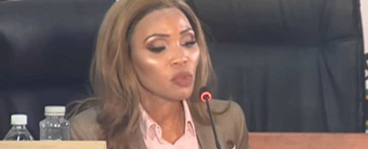 Former Minister Malusi Gigaba's estranged wife Norma Mngoma at the state capture inquiry on 26 April 2021. Picture: YouTube screengrab/SABC.