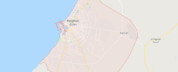 A screengrab from Google Maps showing Libya's Benghazi.