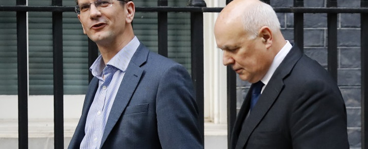 Conservative MPs, Steve Baker (L) and Iain Duncan Smith arrive at 10 Downing Street in central London on 16 October 2019. Picture: AFP