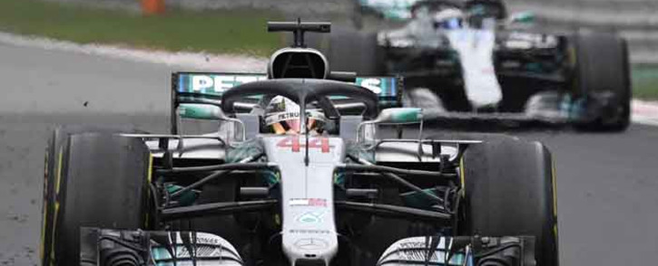 Mercedes' British driver Lewis Hamilton steers his car ahead of Mercedes' Finnish driver Valtteri Bottas to win the Formula One Russian Grand Prix at the Sochi Autodrom circuit in Sochi on 30 September 2018. Picture: AFP