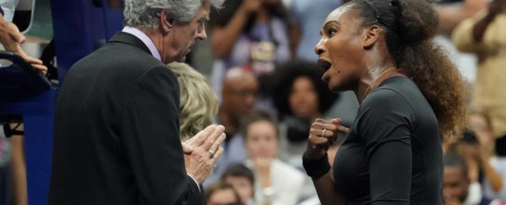 Serena Williams argues with referee Brian Earley during her Women's Singles finals match against Naomi Osaka of Japan at the 2018 US Open. Picture: AFP.