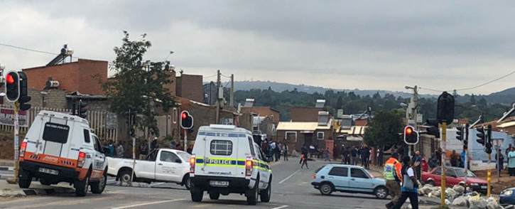JMPD officers monitor protests in the township of Alexandra in Johannesburg on 3 April 2019. Picture: EWN