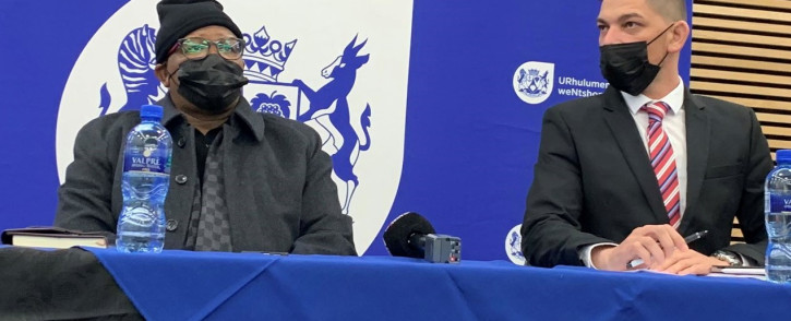 Transport Minister Fikile Mbalula and Western Cape TRansport MEC Daylin Mitchell meet with the taxi industry on 16 July 2021 following recent violence in the province. Picture: Kaylynn Palm/Eyewitness News