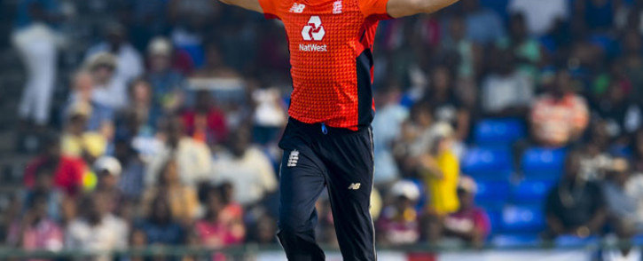 FILE: Mark Wood of England celebrates the dismissal of Carlos Brathwaite of West Indies during the 3rd and final T20I between West Indies and England at Warner Park, Basseterre, Saint Kitts and Nevis, on 10 March 2019. Picture: AFP