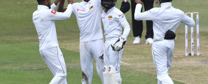 Sri Lanka players celebrate claiming the wicket of Faf du Plessis during their match against South Africa in Durban. Picture: @OfficialCSA/Twitter.