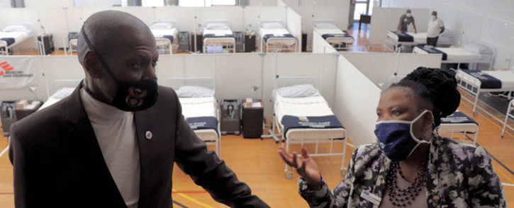 Minister of Health Dr Zweli Mkhize and Health MEC Nomafrench Mbombo visiting various quarantine and isolation facilities in the Western Cape. Picture: @alanwinde/Twitter.