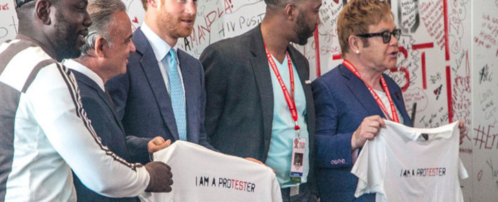 Prince Harry, Sir Elton John and Ndaba Mandela a the Durban ICC. Picture: Kgothatso Mogale/EWN