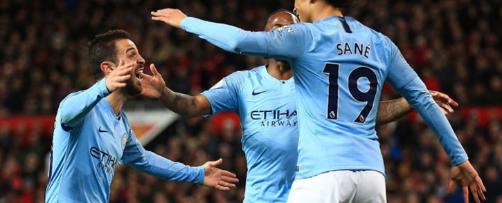 Leroy Sane celebrates his goal with his Manchester City teammates. Picture: @LeroySane19/Twitter