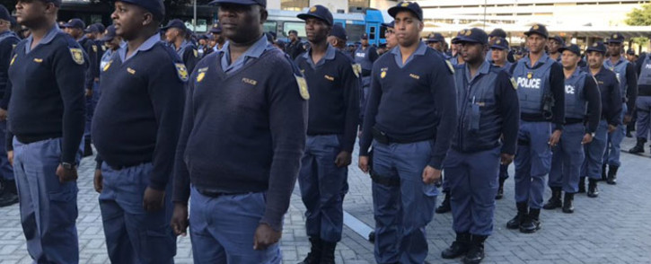 FILE: SAPS members on parade at the Cape Town train station during a visit by Police Minister Bheki Cele on 6 May 2019. Picture: Lauren Isaacs/Eyewitness News