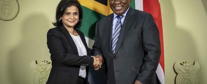 President Cyril Ramaphosa announces new NDPP Shamila Batohi at the Union Buildings in Pretoria. Picture: Thomas Holder/EWN